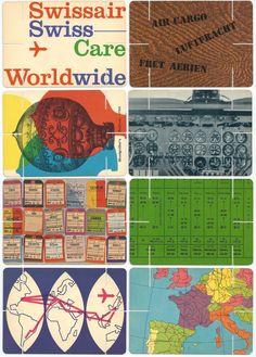Past Print: Swissair / House of cards / 1960 / Brochure / 1956 Airline Travel, Travel Brochure, Vintage Graphic Design, Graphic Design Illustration, Swiss Air, Romantic Places, House Of Cards, Travel Posters, Vintage Posters