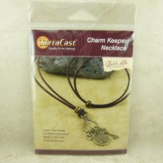 TierraCast Quick Kit Charm Keeper Necklace  Leather by Dragynsfyre (Craft Supplies & Tools, Jewelry & Beading Supplies, Beads, beading kit, diy do it yourself, beads findings, jewelry kit, TierraCast Quick Kit, Pendant necklace, skeleton key, Open heart charm, Tree of life, Brown leather cord, Bodhi Tree, Buddhist Zen, Brass Charms)