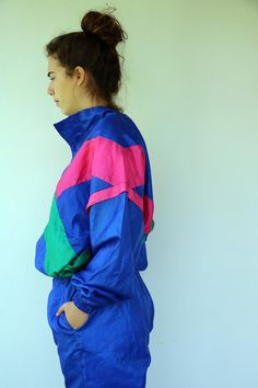 Creation Tracksuit Vintage 80s Streetwear Track Suit Hipster | Etsy Rain Jacket, Bomber Jacket, Dungaree Dress, Gauze Dress, Black Romper, Overall Shorts, Cotton Dresses, Elastic Waist