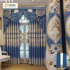 DIHIN HOME Brown Embroidered Blue Valance ,Blackout Curtains Grommet Window Curtain for Living Room Panel - Home decor furniture - Diy Bay Window Curtains, Home Curtains, Grommet Curtains, Blackout Curtains, Panel Curtains, Curtains With Valance, Curtains 2018, Valances, Windows