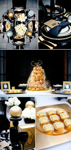 Table accents black, gold & creams