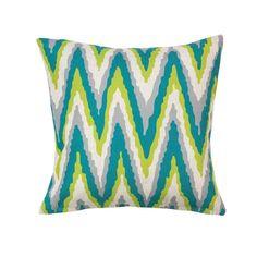 Blue Green Gray Chevron 18x18 Decorative Accent Throw Pillow Boho Home Decor