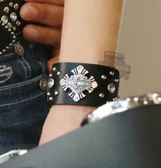 HDWCU10137 - Harley-Davidson® Womens Good Rider Metal Cross B&S Studded Wrist Cuff by LODIS Black Leather - Barnett Harley-Davidson®