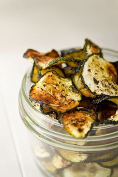 Baked Rosemary and Basil Courgette Chips recipe