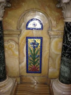 Gorgeous inlaid  shrine floral cross adorned mosaic mother of pearl carved marble or limestone  Nha tho tan dinh church vietnam