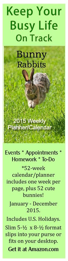 Keep track of your busy life in 2015 with the help of 52 adorable bunny rabbits. Currently $8.98 at Amazon.com. #bunnies #rabbits #2015 calendar