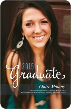 Chic Success - Graduation Announcements in Slate | Stacey Day