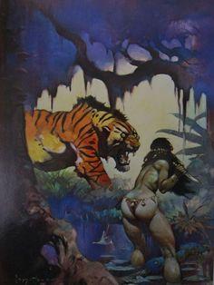 Vintage Frank Frazetta Art ESCAPE ON VENUS 1972 Full Color Plate GGA Tiger Knife #Vintage
