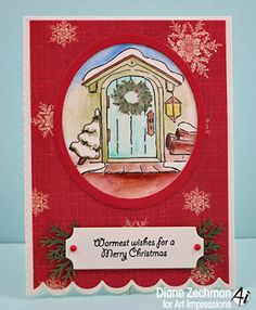 Art Impressions Rubber Stamps: Wooden Door (sku 4702) and Scallop Easel Die (sku 4700) ...handmade card. Ai Wonderful Water Color. watercolor, Christmas, tree, lantern, wreath, snow, winter