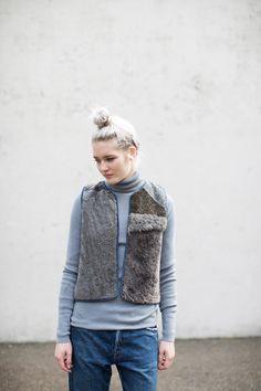 Milena Silvano Sheepskin Patchwork Diamond Vest III