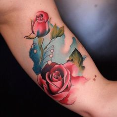 You can never go wrong with roses. #tattoo #catapulttattoo #rose #ink #watercolor #tattooistartmag