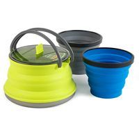 Sea to Summit's X-Set 11 offers a light and compact solution for making hot meals and drinks in the backcountry.This nesting set includes a 1.3L X-Kettle and two X-Mugs.Features• The innovative X-Kettle collapses to 1 3/8'' (35mm) and has a 1-liter safe boiling capacity.• A wide base absorbs maximum heat from the stove while protecting the silicone walls.• Two glass-reinforced Nylon 66 handles support the upper rim and improve control when pouring.• The two X-Mugs nest perfec...