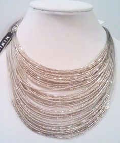 Mixit Silver Tone Illusions Bib event or Party Necklace Adjustable