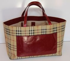 Burberry - Red Haymarket Shopper Tote You can find this item and more on www.handbagconsignmentshop.com