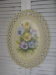 Items similar to home interiors pansies in white rattan frame syroco plastic signed fran anderson watercolor look shabby cottage romantic on Etsy Hollywood Regency Decor, Home Interiors And Gifts, Plastic Signs, Shabby Cottage, Retro Home, Pansies, Rattan, Decorative Plates, The Originals