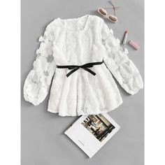 SheIn(sheinside) Bow Detail Tie Waist Lace Blouse ($17) ❤ liked on Polyvore featuring tops, blouses, white, lace blouses, bow collar blouse, white blouse, collar blouse and white peplum blouse