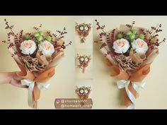 Learn to make a felt crafts in this felt crafts tutorial video. Here, I will show you how to wrap flower bou. Mother's Day Bouquet, Felt Flower Bouquet, Bouquet Wrap, Diy Bouquet, Felt Roses, Felt Flowers, Diy Flowers, Graduation Bouquet, Birthday Bouquet