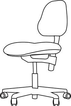 Une Chaise De Bureau Dessin A Imprimer Colorier Mobilier Salon