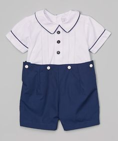 Look at this Navy Blue & White Button Top & Shorts - Infant & Toddler on #zulily today!