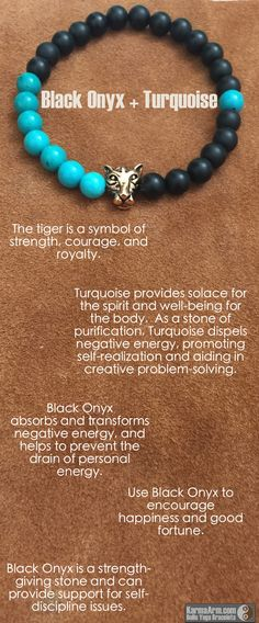 AFFIRMATION: I have the courage to trust in myself. - 8mm Matte Black Onyx Round Gemstones - 8mm Turquoise Round Gemstones - 22K Rose Gold Plated Tiger - Commercial Strength, Latex-Free Elastic Band -