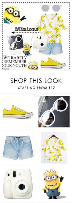 """Minions"" by nguyencynthia ❤ liked on Polyvore featuring Converse, Ks Mixx, Monki, Fuji and Quay"