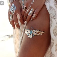 #tumblr #fashion #outfit #boho #bohemian #bohostyle #bohostyle #tattoo #jewellery #rings #bodypaint by gorgeous_superb_