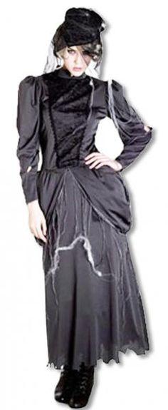 Schwarzes Hexenkostüm einer strengen Vorsteherin einer Zauberschule.