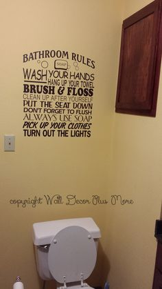 Bathroom Rules Subway Wall Decal Sticker - comes in a large 23x20-Inch size