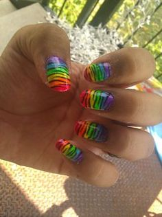 Rainbow Zebra Nail Design