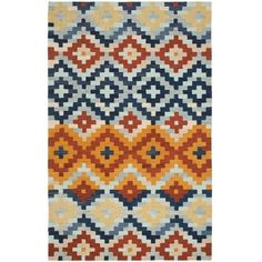 Safavieh Hand-hooked Chelsea Southwest Multicolor Wool Rug ($385) ❤ liked on Polyvore featuring home, rugs, multi, southwestern area rugs, wool hooked rugs, safavieh rugs, non skid area rugs and southwestern wool rugs