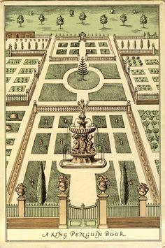 Formal garden in the Netherlands (1634-37). Back cover of Wilfrid Blunt, 'Tulipomania'.  King Penguin Book no. 44 (Hardmondsworth: Penguin, 1950).