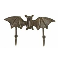 Flying Bat Double Hook Antiqued Rust Cast Iron Wall Decor for sale online Cast Iron, It Cast, Decorative Wall Hooks, Vintage Hooks, Gothic Bedroom, Iron Wall Decor, Home Design Decor, Coat Hooks, Make And Sell