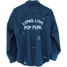 Long Live Pop Punk Destroyed Denim Shirt ($36) ❤ liked on Polyvore featuring tops, jackets, shirts, long sleeves, long-sleeve peplum tops, long tops, long-sleeve shirt, punk shirts and blue shirt