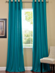 exclusive fabrics cotenza turquoise faux cotton curtain panel