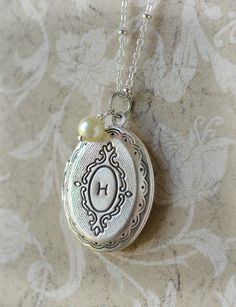 Initial+Locket+Necklace+FREE+SHIPPING+Personalized+by+LimonBijoux,+$26.00