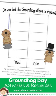 PreK and older can practice their data skills by tallying on this chart, a fun activity for Groundhog Day! Groundhog Day Activities, Activities For 2 Year Olds, Class Activities, Classroom Activities, Preschool Printables, Preschool Crafts, Preschool Activities, Ground Hog, Tot School