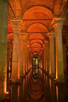 Ancient cistern for water storage when Constantinople was under seige in Turkey