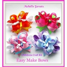 Kids Bow Craft, holiday,how to Make Hair Bows Instructions Assembly Kit,ages 7-9 & Up.great Gift Ideas.