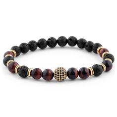 Buy Neshraw - Black and Red Royal Lava Bracelet for only Shop at Trendhim and get returns. We take pride in providing an excellent experience. Stone Bracelet, Pearl Bracelet, Bracelets For Men, Beaded Bracelets, Diamond Bracelets, Bangles, Engraved Bracelet, Red Tigers Eye, Diy Jewelry Making