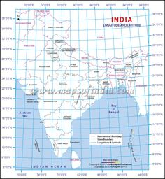 Latitude and Longitude Map of India with two degrees of difference.