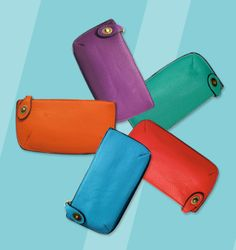 Joy Susan ~ leather zipper clutch available in a variety of colors