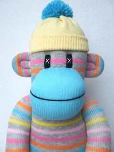 Bright Pin Striped Sock Monkey