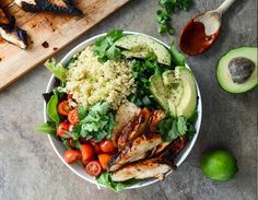 Honey chipotle chicken bowl with lime quinoa