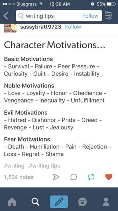 Character motivations.