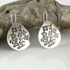 Items similar to Floral Silver Earrings, Sterling Silver Earrings, Tiny Flowers Earrings, Miniature Flowers Earrings Gifts For Her, Medium Drop Earrings on Etsy Precious Metal Clay, Handmade Jewelry, Unique Jewelry, Enamel Jewelry, Matching Necklaces, Teardrop Earrings, Flower Earrings, Sterling Silver Earrings, Tiny Flowers