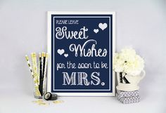 8x10 Bridal Shower Sweet Wishes Navy by DesignsByLindsayy on Etsy