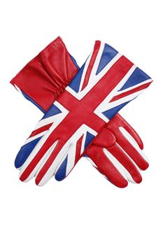 Stunning and patriotic all in one! Women's silk lined leather Union Jack pattern glove with a red palm and elasticated wrist. Union Jack Decor, Britain's Got Talent, Red Palm, Union Flags, British Things, Uk Flag, Save The Queen, Flag Design, British Style
