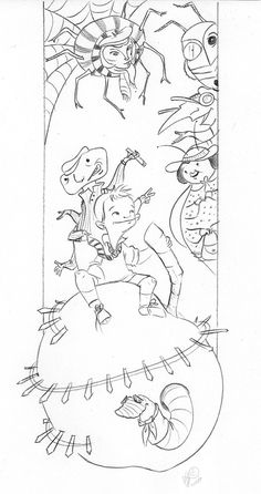 james and the giant peach coloring page or book cover - Language Arts Coloring Pages