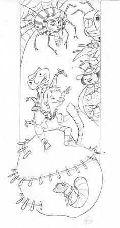 Roald Dahl Enormous Crocodile Sketch Coloring Page