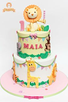 Jungle Safari Cake #girl #animals #lion #fondant @thesweeteryph by Diana